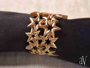 Scatter 6 Sided Stars Ring in Natural Brass: 8 / 56.75