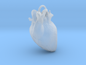 Heart pendant in Smooth Fine Detail Plastic: Small