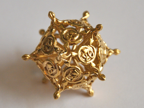 D20 Balanced - Snakes (Fancy Metals) in Natural Brass