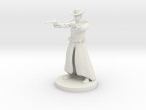 Human Gunslinger - Two Pistols Male in White Strong & Flexible