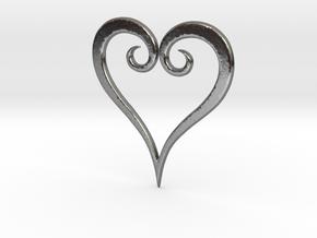 Minimalist Kingdom Hearts Pendant in Polished Silver