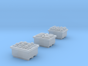 Produce Bins Full of Produce N Scale in Smooth Fine Detail Plastic