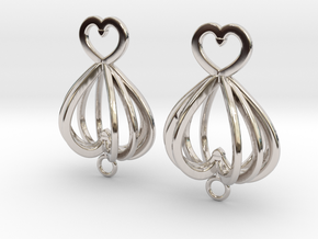 Open Heart Earrings in Precious Metals in Rhodium Plated Brass