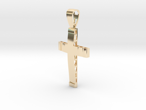 Christian cross in 14k Gold Plated Brass