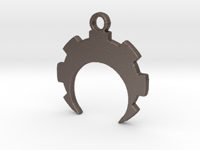 Crescent Cog in Polished Bronzed Silver Steel