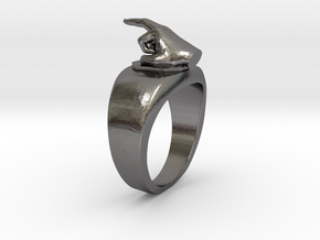 Middle Finger Ring Funny in Polished Nickel Steel: 10 / 61.5