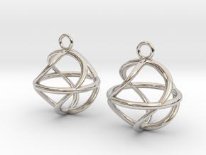 Twist ball earrings in Rhodium Plated Brass