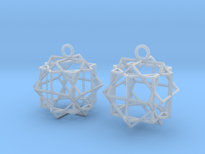 Cube square earrings in Smooth Fine Detail Plastic