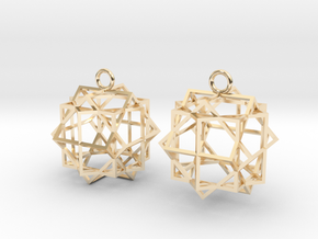 Cube square earrings in 14K Yellow Gold