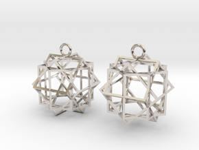 Cube square earrings in Platinum