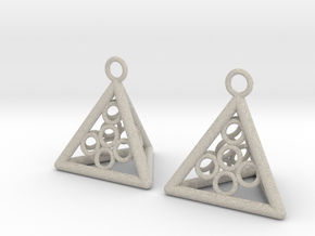 Pyramid triangle earrings serie 3 type 5 in Natural Sandstone