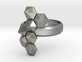 Hex Cluster Ring in Natural Silver