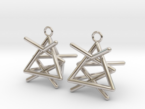 Pyramid triangle earrings type 1 in Rhodium Plated Brass