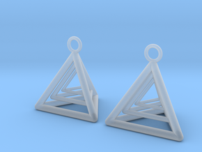 Pyramid triangle earrings type 9 in Smooth Fine Detail Plastic