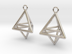 Pyramid triangle earrings type 10 in Platinum