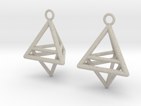 Pyramid triangle earrings type 10 in Natural Sandstone