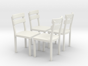 4 Stuehle in 1:45 (Spur 0) in White Natural Versatile Plastic