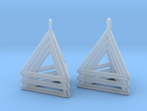Pyramid triangle earrings type 5 in Smooth Fine Detail Plastic