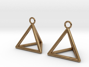 Pyramid triangle earrings in Natural Brass