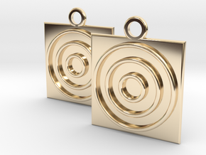 square circle earrings in 14k Gold Plated