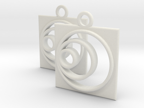 square circle spiral earrings in White Natural Versatile Plastic