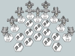 MicroFleet O'Ryan's Raiders Carrier Group (21pcs) in Smooth Fine Detail Plastic