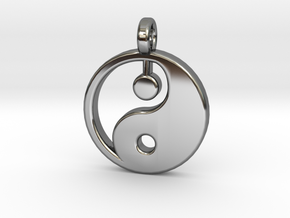 Yin yang pendant in Fine Detail Polished Silver: Small