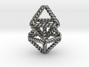 "Interlocking Twisted Octahedrons 1.2+"" in Polished Silver (Interlocking Parts)"