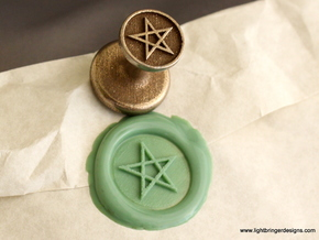Pentagram Wax Seal in Polished Bronzed Silver Steel