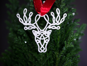 Celtic Knotted Reindeer Head Pendant/Ornament in White Processed Versatile Plastic