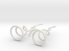 Earrings Twist 001 in White Natural Versatile Plastic