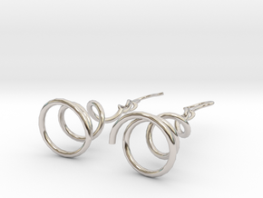 Earrings Twist 001 in Rhodium Plated Brass