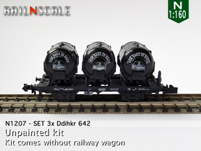 SET 3x Ddihkr 642 Behälter (N 1:160) in Smooth Fine Detail Plastic