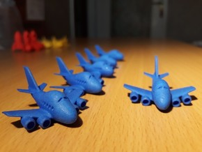 Six funny Boeing 747 plane keychains in Blue Processed Versatile Plastic