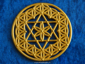 Flower Of Life - Merkaba in Polished Gold Steel