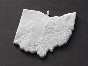 Ohio Christmas Ornament in White Natural Versatile Plastic