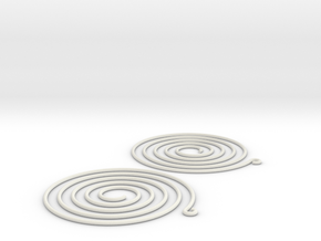 Earrings Spiral 001 in White Natural Versatile Plastic