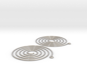 Earrings Spiral 001 in Rhodium Plated Brass