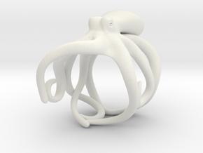 Octopus Ring 21mm in White Premium Versatile Plastic
