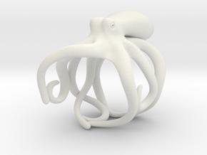 Octopus Ring 19mm in White Natural Versatile Plastic