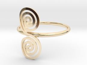 "Celtic ""life and death"" double spiral ring in 14k Gold Plated Brass"