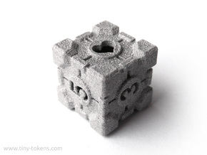 Companion Cube D6 - Portal Dice in Polished Metallic Plastic: Small
