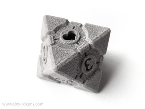 Companion Cube D8 - Portal Dice in Polished Metallic Plastic: Small