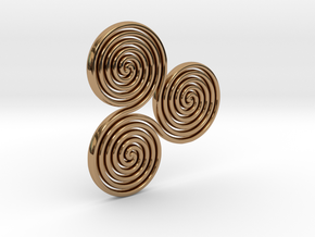 """Celtic """"life and death"""" triple spiral pendant in Polished Brass"""