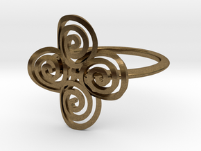 "Celtic ""life and death"" quadruple spiral ring in Natural Bronze"