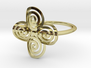 "Celtic ""life and death"" quadruple spiral ring in 18k Gold Plated Brass"
