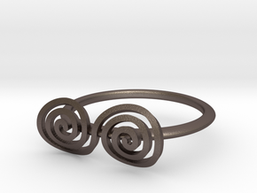 """Celtic """"life and death"""" turned spiral ring in Polished Bronzed Silver Steel"""