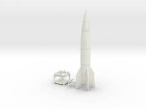 V-2 Rocket, Launch Platform and Dolly 1/30 scale in White Natural Versatile Plastic