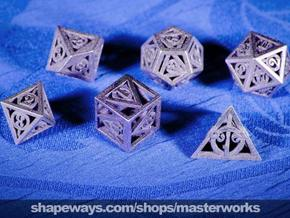 Deathly Hallows Dice Set noD00 in Polished Bronzed Silver Steel