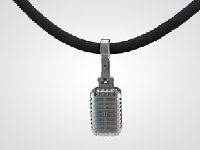 very detailed retro Microphone Pendant in Natural Silver